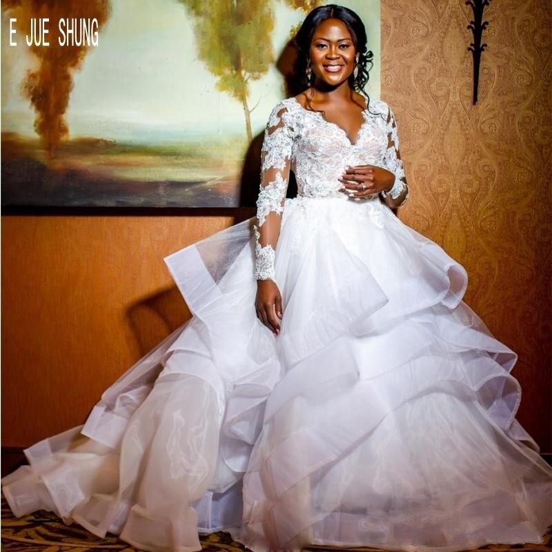 E JUE SHUNG African Organza Ball Gown Wedding Dresses V Neck Long Sleeves Top Layered Ruffles Bridal Gowns Vestidos De Novia