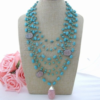 """N091801 19""""-31"""" 7Strands Blue Stone & Cat's Eye & Pink Crystal Pendant Necklace"""