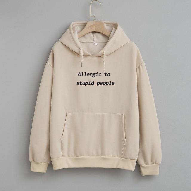 Cotton Sweatshirt Women Oversized Hoodie Female Harajuku Allergic To Stupid People Letter Print Sweatshirts Kpop Plus Size Tops 1