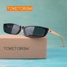Toketorism womans small sunglasses rectangle bamboo glasses vintage wooden men 3501