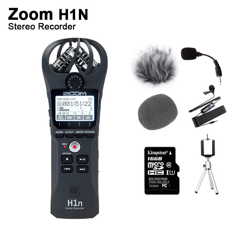 Originele Zoom H1N Handige Digitale Voice Recorder Portable Audio Stereo Microfoon Interview Microfoon Met Kingston16GB Sd-kaart Etiket