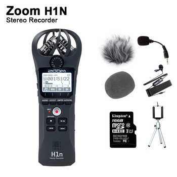 Original Zoom H1N Handliche Digital Voice Recorder Tragbare Audio Stereo Mikrofon Interview Mic mit Kingston16GB SD Karte Label