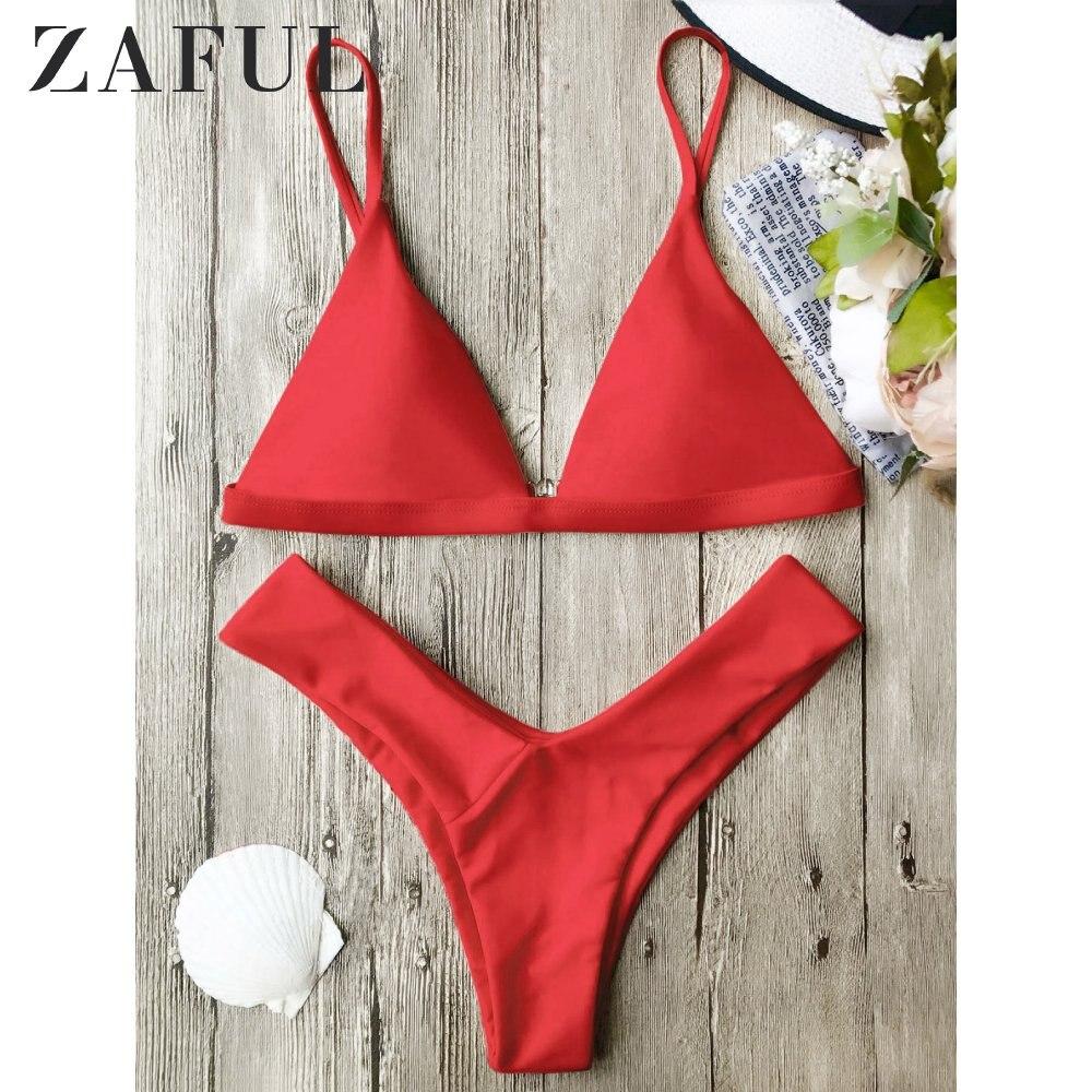 ZAFUL Bikini Spaghetti Straps Soft Pad Thong Bikini Set Low Waisted Solid Padded Swimsuit Push Up Swimswear For Women Bikini