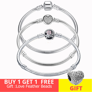 Image 1 - Hot Sale 100% Real  925Silver Bracelet Fit Original Design Beads Charms Bangle DIY Jewelry Making Gift For Women