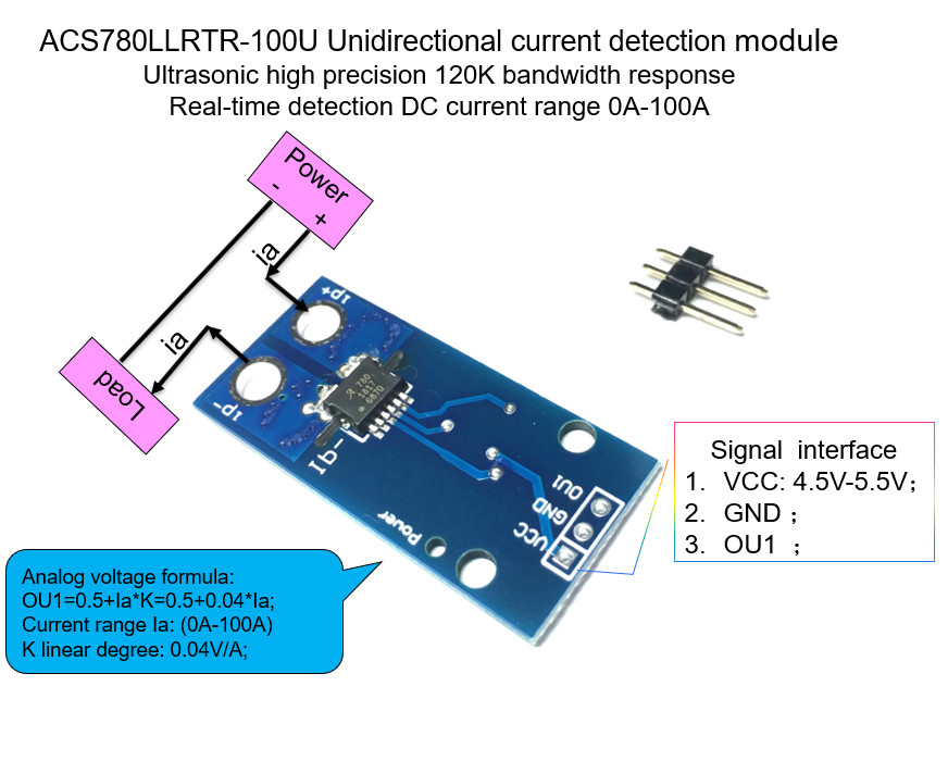 1PCS/LOT Unidirectional DC Current Sensor Module ACS780LLRTR-100U ACS780 120 KHz Bandwidth  DC: 0-100A   0.04V/1A