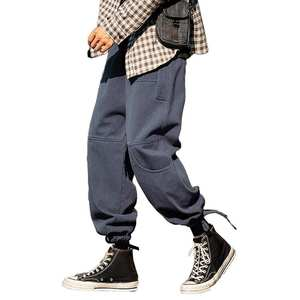 Men Pants Loose Trousers Japanese Casual Man Ankle-Tie Drawstring Soft-Waist
