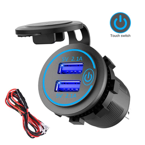 4.2A Dual USB Fast Charger with Switch Socket Power Outlet Adapter Waterproof Dual USB Ports for Marine RV Boat Motorcycle Truck