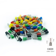 100pcs/lot E4009 Bootlace Cooper Ferrules Kit Set Wire Copper Crimp Connector Insulated Cord Pin End Terminal 9 color VE4009