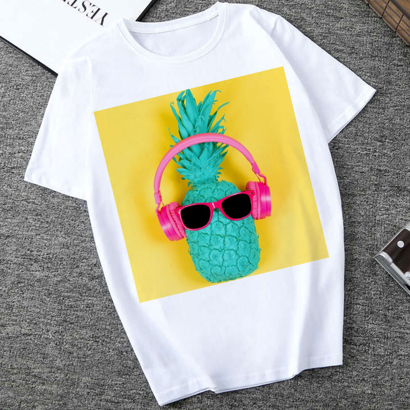 Harajuku T Shirt Women 2020 New Summer Fashion Fruit Pineapple Print T-shirt Vintage Short Sleeve Tshirt  Women Tops Tees Female