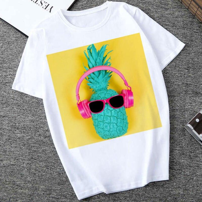 Harajuku T Shirt Women 2020 New Summer Fashion Fruit Pineapple Print T-shirt Vintage Short Sleeve Tshirt  Women Tops Tees Female