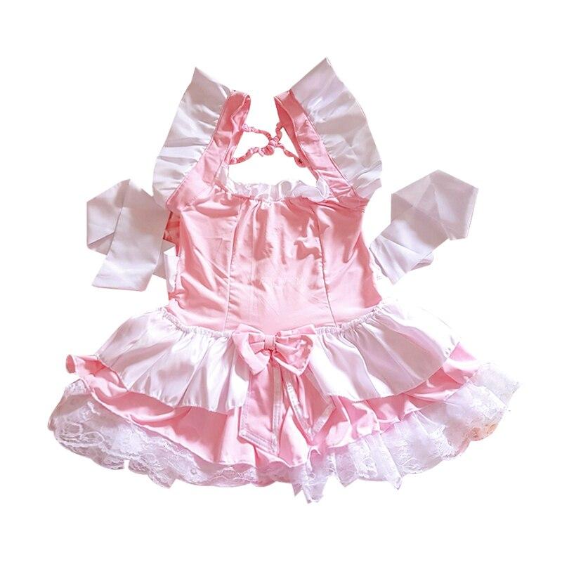 Costume de serveuse Lolita rose pour femmes, tablier Kawaii, robe, uniforme, jeu de rôle érotique, Lingerie Sexy 4