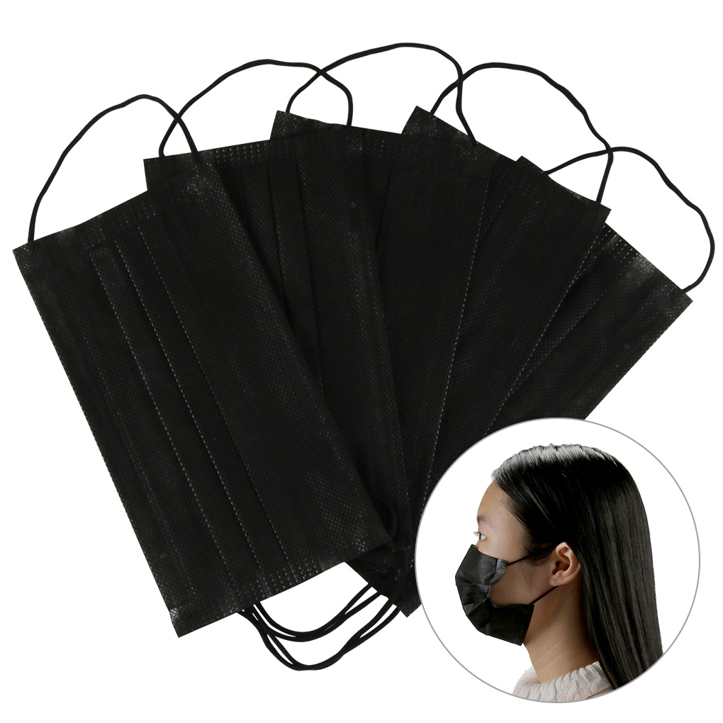 100Pcs Mouth Mask Disposable Black Mask Blue Mouth Face Mask  Nose Cover 3-layer Earloops Masks
