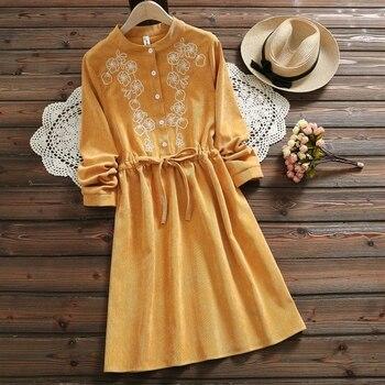Mori Girl Vintage Corduroy Women Shirt Dress Floral Embroidery Elegant Autumn Winter Christmas gift Dresses Midi