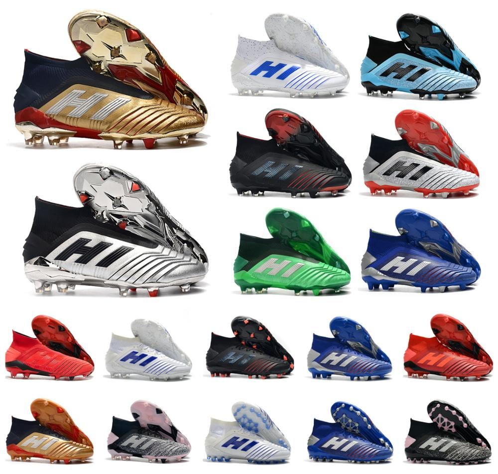 Football-Shoes Boots Soccer FG Predator 19 Golden AG 19--X-Cleats Pogba Hot PP Men 25th