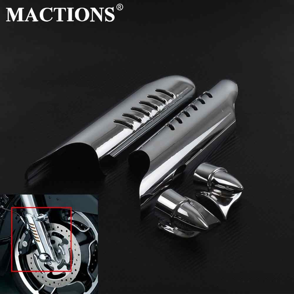 Mactions ABS Forcella Inferiore Coprigambe Scudi Deflettori Nero Chrome Per Harley Touring Road King Electra Glide FLHT FLH FLTR 00-13