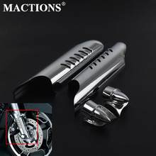 Mactions ABS Lower Fork ขา Deflectors Shields สีดำ Chrome สำหรับ Harley Touring Road King Electra Glide FLHT FLH FLTR 00-13(China)