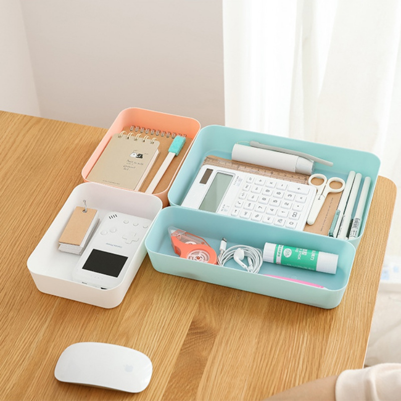 Household Storage Box Household Tabletop Cosmetics Storage Case Kitchen Storage Organizer Plastic Tray Sundries Storage Box