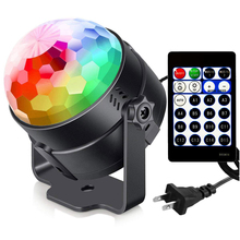 DCOO Sound Activated Party Lights RBG LED Disco Ball Strobe Lamp 15 Colors Stage Light For Christmas Home KTV Xmas Wedding Show sound activated party lights led disco ball projector 15 color led stage lights for christmas home ktv xmas wedding show