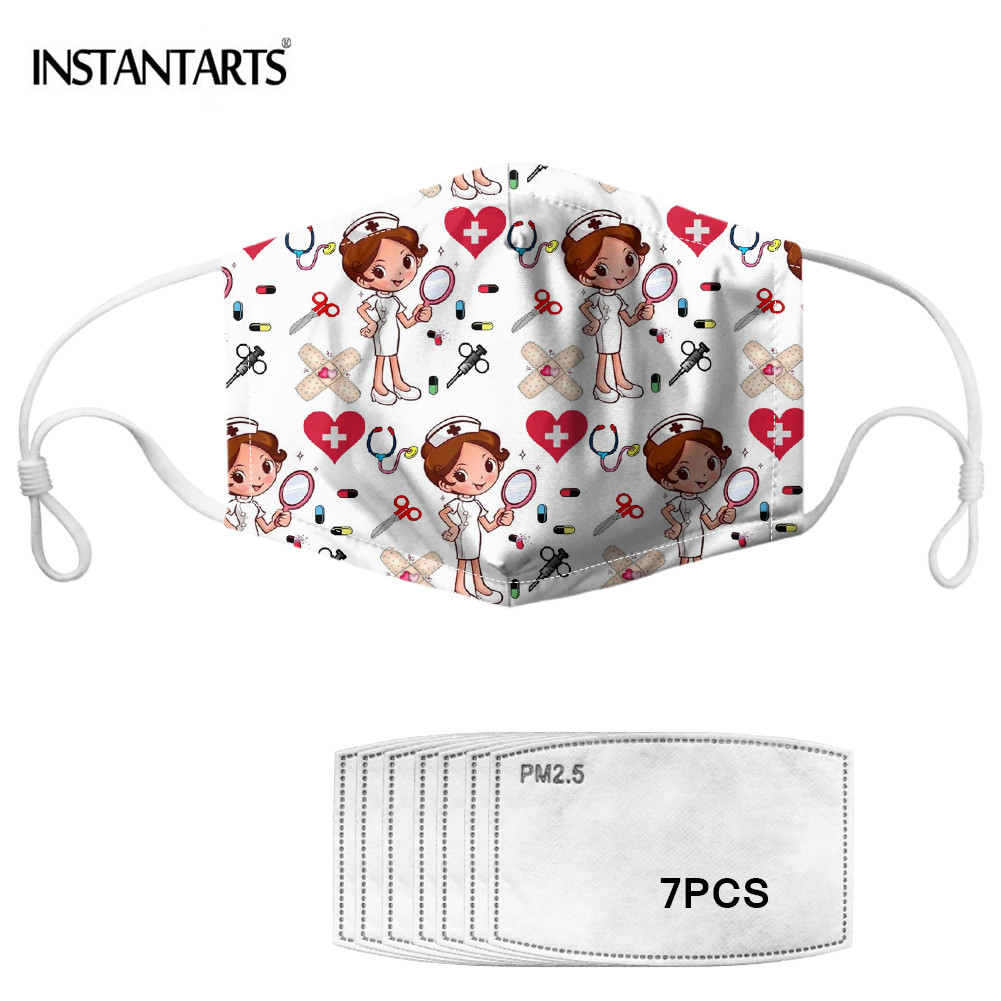 INSTANTARTS Cartoon Nurse Design Adult Mouth Mask Anti Dust Windproof Mouth-muffle Activated Carbon Cotton Masks Health Care
