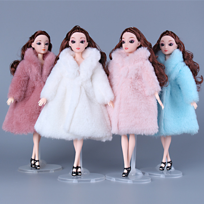BJD Doll Clothes For 30cm 1/3 Dolls Fashion Plush Coat Doll Accessories Toys For Girls Diy Bjd Clothes Christmas Outfit Dress