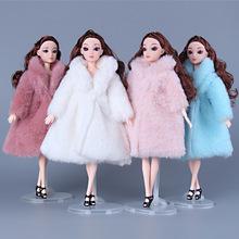 Ubranka dla lalek Bjd dla 30cm 1 3 lalki moda pluszowy płaszcz akcesoria dla lalek zabawki dla dziewczynek Diy Bjd ubrania strój świąteczny sukienka tanie tanio mling Pluszowe for 30cm doll not eat Doll clothes 01 Unisex