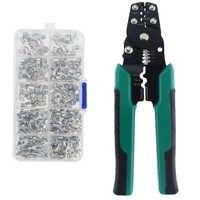 320 unids/caja 10 en 1 terminales de anillo no aislados tenedor U-tipo de Terminal de latón surtido Kit de conector de Cable herramienta de crimpado