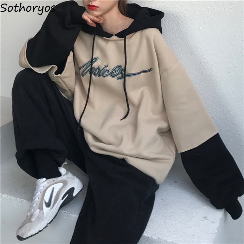 Hoodies Women Patchwork Fake 2 Pieces Hooded Thick Warm Plus Velvet Letter Unisex Couples Boyfriend Harajuku Kpop Streetwear New