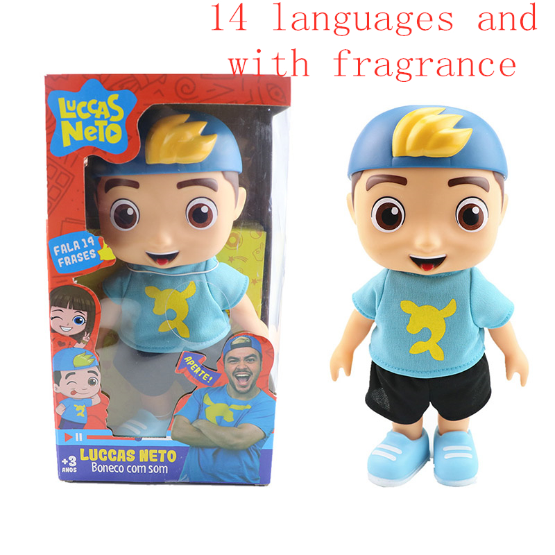 25cm Cute Luccas Neto Action Figure Vinyl Collection Model Talking Toys With Sound Frangrance Kids Birthday Christmas Gifts