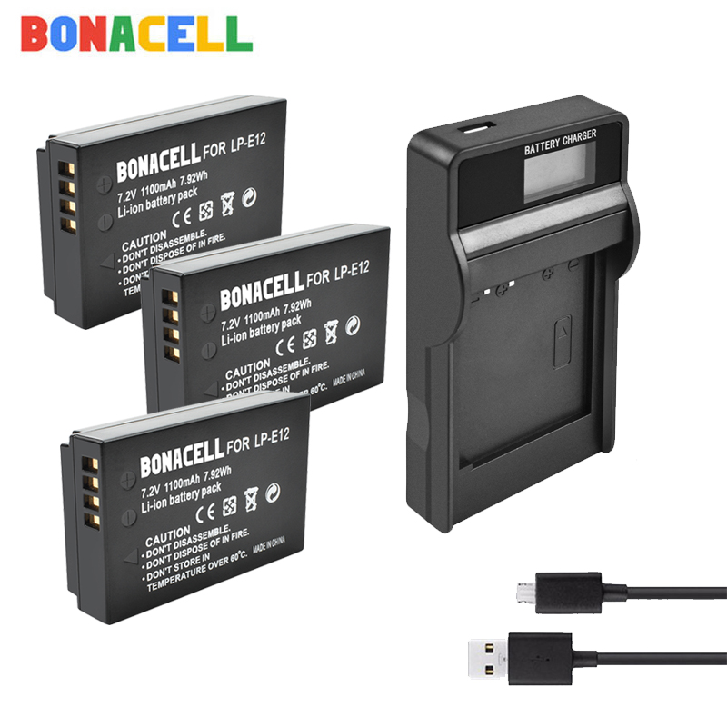 Bonacell LP-E12 LPE12 Digital Li-ion <font><b>Battery</b></font> For <font><b>Canon</b></font> camera LP-E12 <font><b>Batteries</b></font> replace EOS M50, EOS M100,<font><b>100D</b></font> Kiss X7 Rebel SL1 image