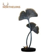 NORTHEUINS Resin Ginkgo Biloba Leaves Figurines Modern Home Decor For Interior Plant Decoration Christmas Desktop Art Sculptures