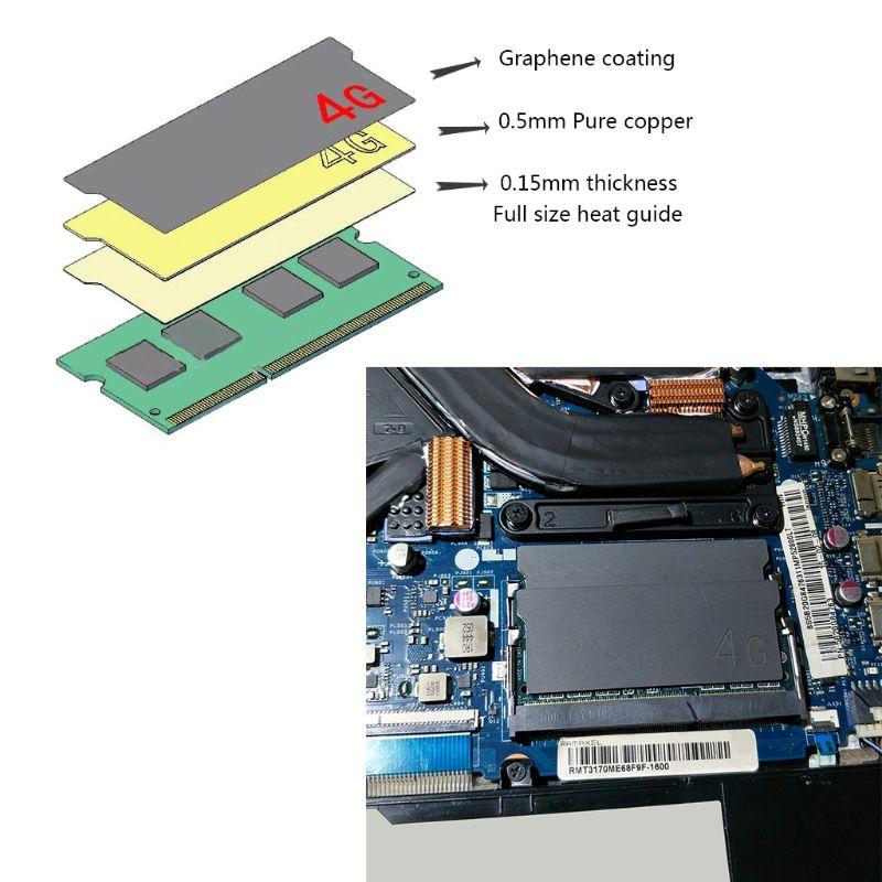 Pure Copper Graphene Laptop Memory Heatsink Cooling Vest RAM Radiator Cooler Kit K1AA