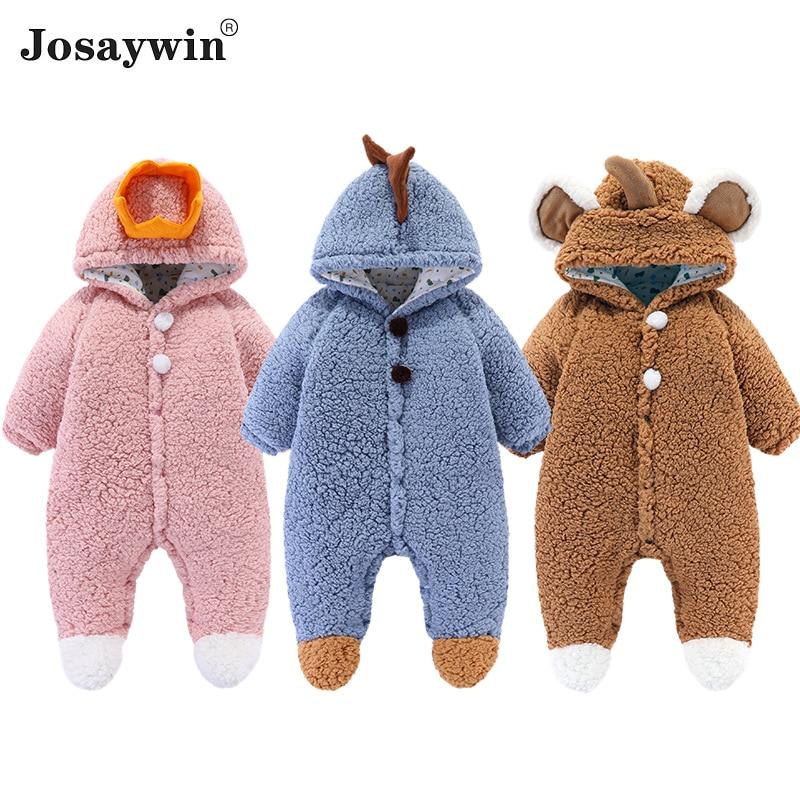 Baby Winter Romper Outfit Newborn Kids Clothes Girl Boys Jumpsuit Kids Warm Velvet Long Sleeve Bear Hooded Toddler Romper