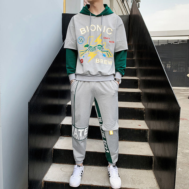 Fashion Animal Printed Tracksuit Men Green Grey Hoodie Pants Men Two Pieces Set Casual Loose Fit Hip Hop Hooded Tracksuit Men