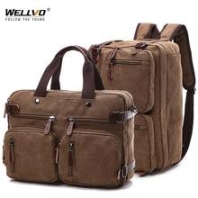 Men Canvas Briefcase Travel Bags Suitcase Classic Messenger Shoulder Bag Tote Handbag Big Casual Business Laptop Pocket XA138ZC