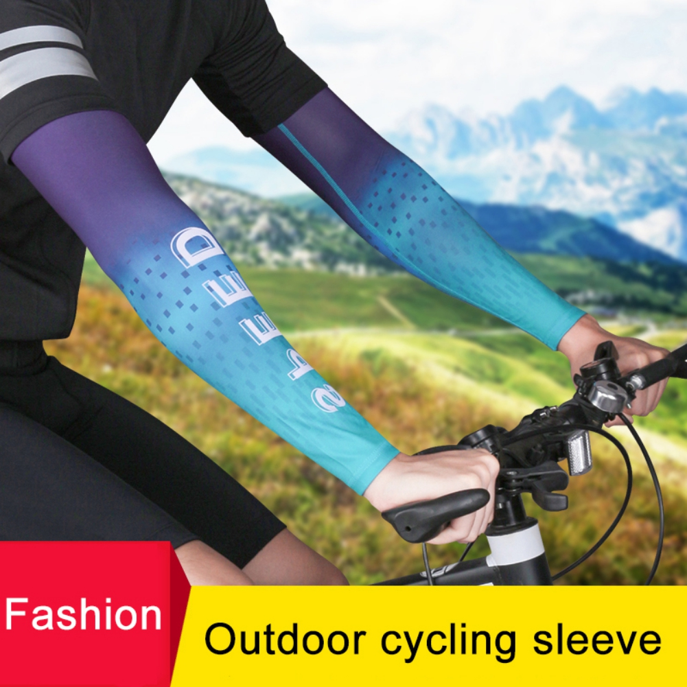 1 Pair Cycling Arm Sleeve Sports Running Arm Warmer Sunscreen UV Protection Ice Silk Cooling Basketball  Arm Cover Protection