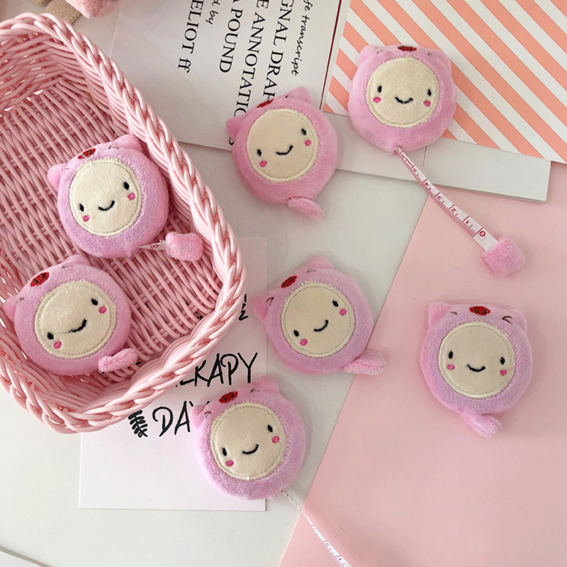 Kawaii Mini Plush Ruler 1.5m Cute Pink Pig Soft Ruler Double-Sided Garment Small Tape Measure Tool Gifts