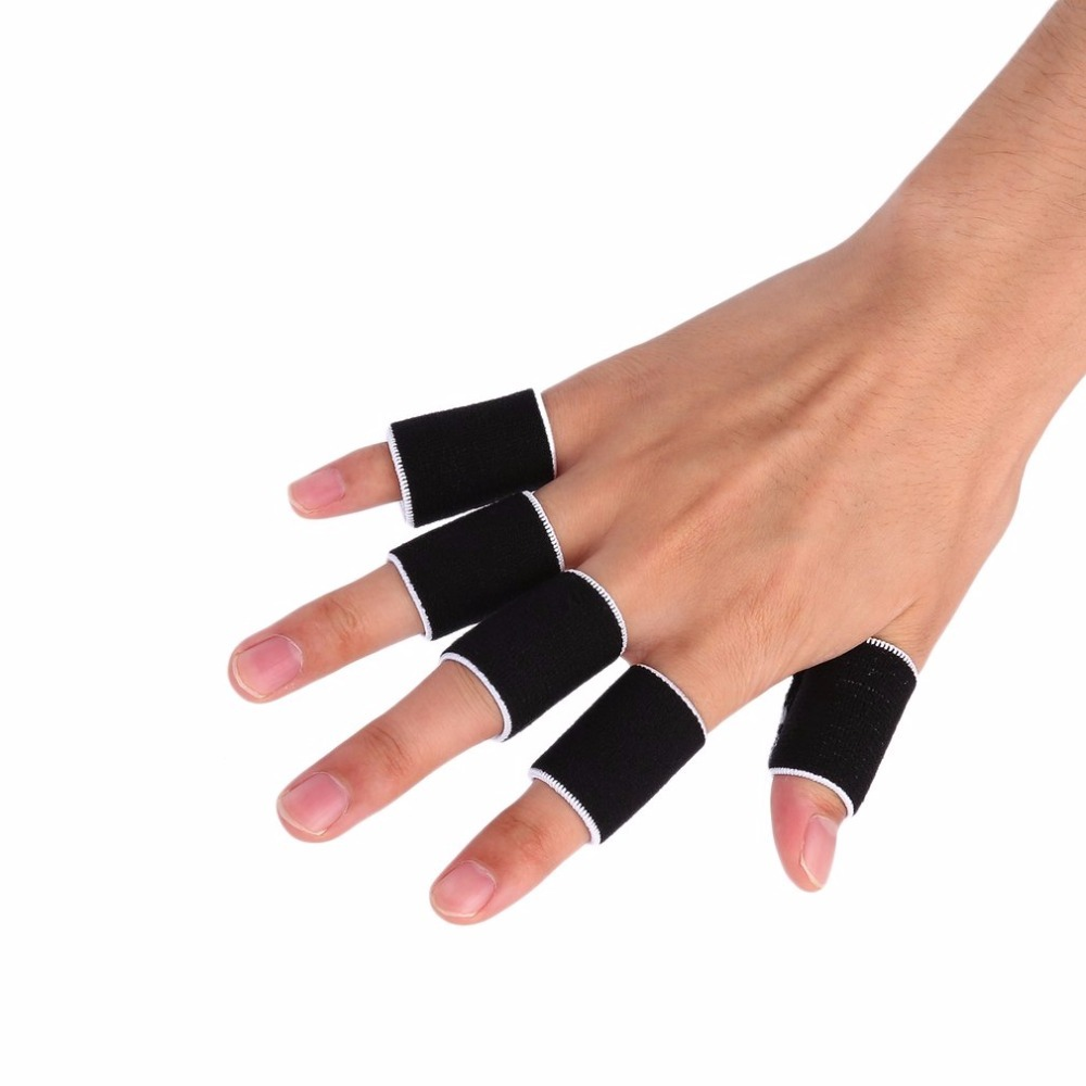 10 Pcs Stretchy Protective Gear Finger Guard Bands Bandage Support Wraps Arthritis Aid Finger Stall Sleeve Non-slip Gloves