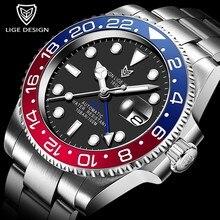 2020 LIGE Männer GMT Automatische Mechanische Uhr Keramik Lünette 316L Edelstahl 100ATM Wasserdichte Uhren Sapphire Glas Uhren