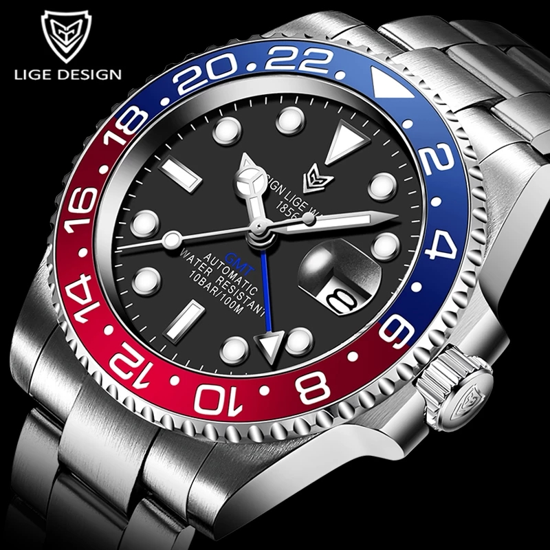 2021 LIGE Men GMT Automatic Mechanical Watch Ceramic Bezel 316L Stainless Steel 100ATM Waterproof Clock Fashion luminous Watches