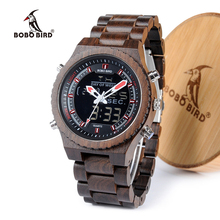 Bobobird ledデジタル木製メンズ腕時計高級男性デュアルディスプレイスポーツ時計クォーツ腕時計2020トップブランドレロジオmasculino