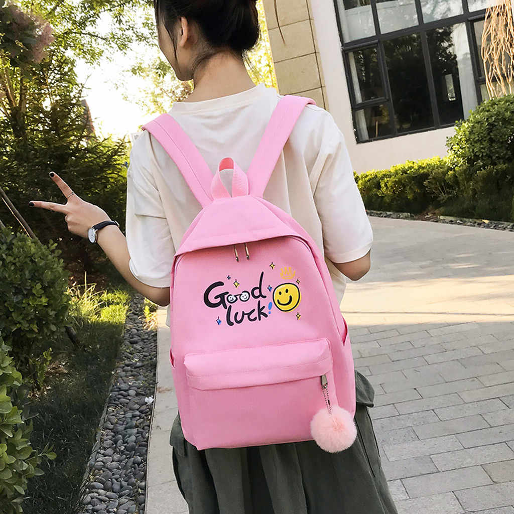 MAIOUMY Female Student Backpack Pure Color Girls Classic Leisure 4 Sets Bags Korean Style Laptop Fitness Travel Women Backpacks