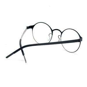 Image 5 - טהור בעבודת יד טיטניום משקפיים מסגרת גברים בציר עגול לא בורג Eyewear מרשם אופטי מותג משקפיים מסגרת נשים