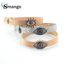 Wholesale Copper Micro Pave CZ Eyes Shape Charm Watchband Bracelet In 2Colors Top Quality Plating of 5Pcs,B0053
