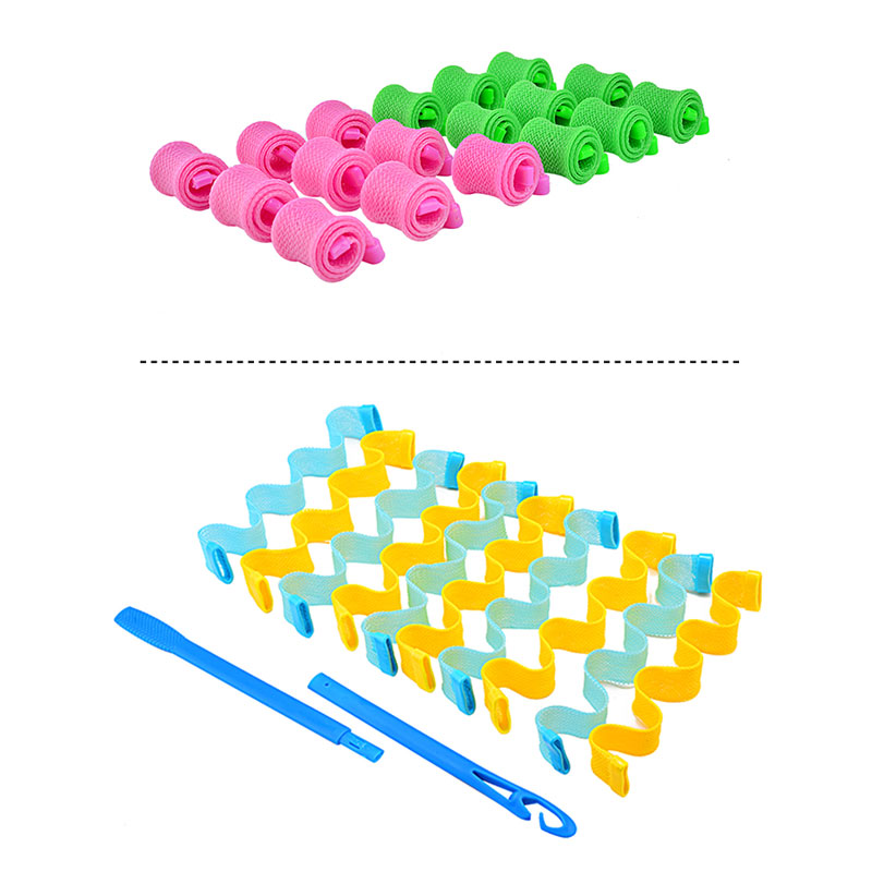 20 Pcs DIY Plastic Magic Hair Curlers Tool Spiral Ringlets Wave Curl Formers Leverage Rollers No Heat Hair Stiyles Accessories