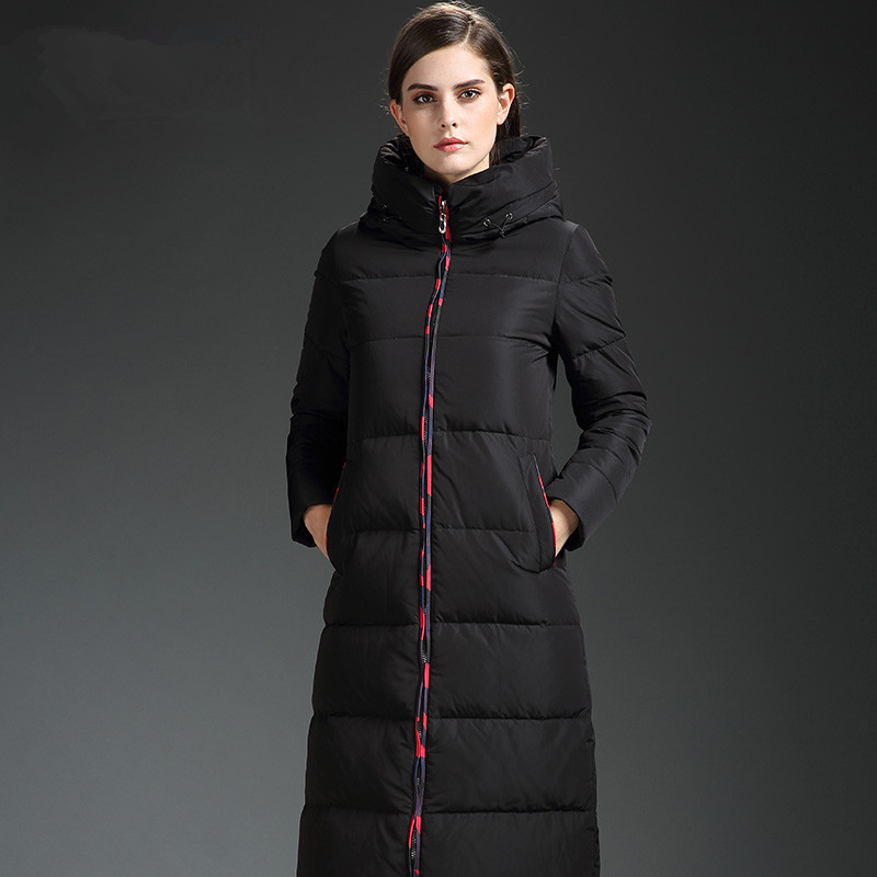 High 2020 Quality Womens White Duck Down Jacket Black Hooded Winter Coat Female Long Parkas Slim Woman Down Coats WXF220 S