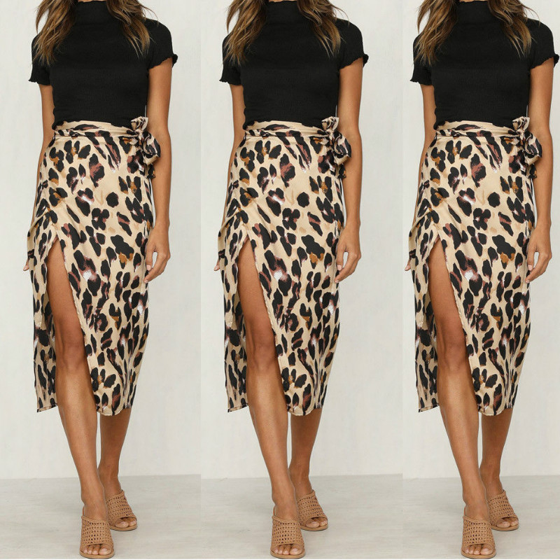 Vintage Leopard Print Skirts Women High Waist Midi Skirt Bow Tie 2020 Summer Ladies Sexy Split Wrap Skirt Beach Hot