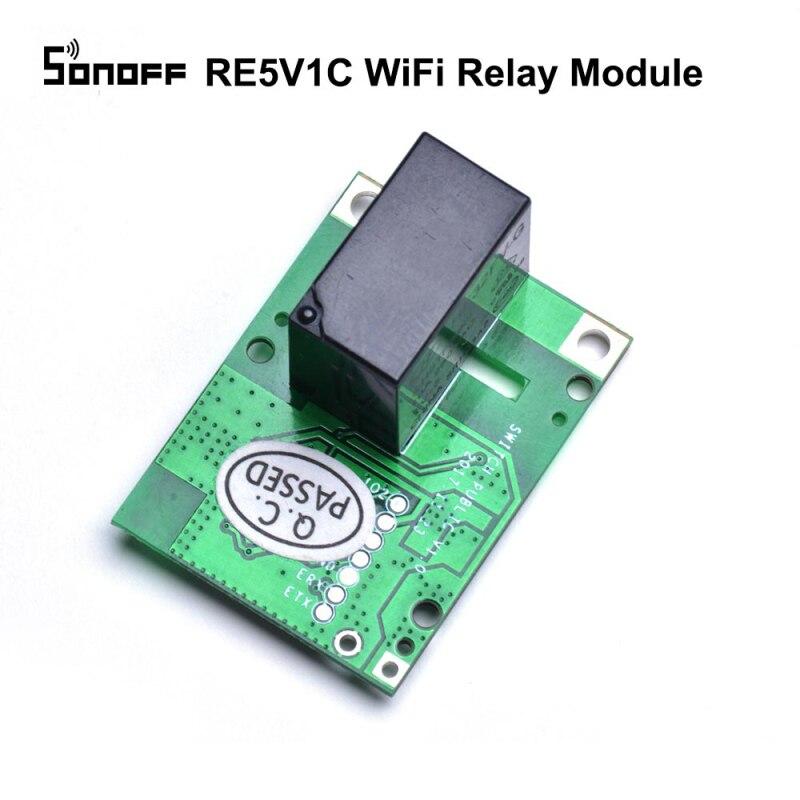 Релейный модуль SONOFF 10A, RE5V1C, 5 В, Wi-Fi, встроенный/самоблокирующийся, управление через приложение для умного дома, совместим с Alexa Google Home IFTTT
