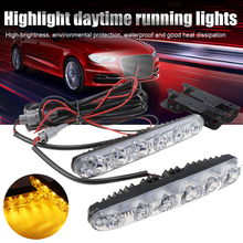 2pcs 6 LEDs DC 12V 6000K LED Daylight Running Lights DRL Automobile light Source Car Styling Waterproof Dropshipping