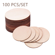 100pcs Natural Blank Wood Pieces Slice Round Unfinished Wooden Discs DIY Crafts for Painting Wedding Party Ornaments Decoration 60 pieces blank boards plywood sheets for crafts models
