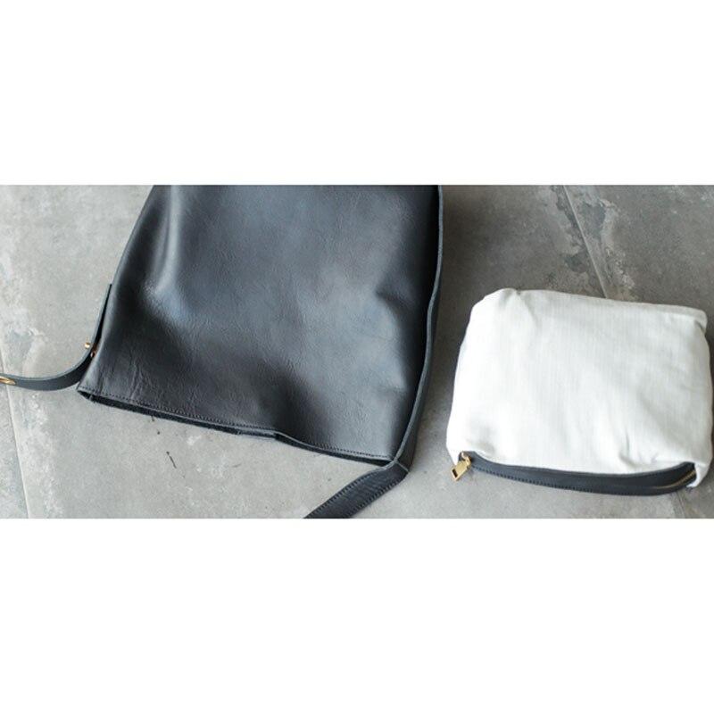 AETOO Nuovo grande capienza singolo sacchetto di spalla nero in pelle morbida cinghia di spalla larga in pelle borsa secchiello verticale borsa di grandi dimensioni - 4
